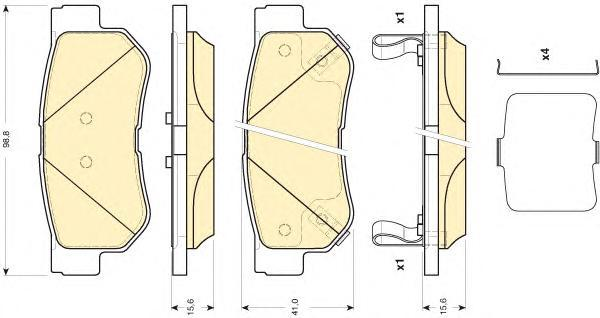 6134329 Колодки тормозные HYUNDAI GETZ/MATRIX/SANTA FE/SONATA/TUCSON/KIA SPORTAGE задние