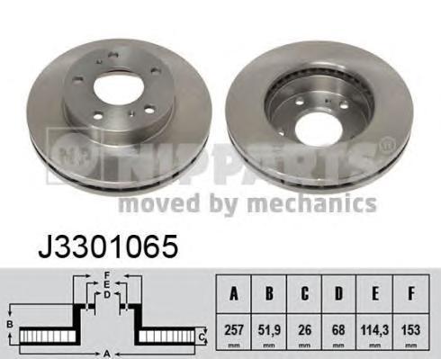 J3301065 Диск тормозной NISSAN SERENA 92-/VANETTE 95- передний вент.D=257мм.