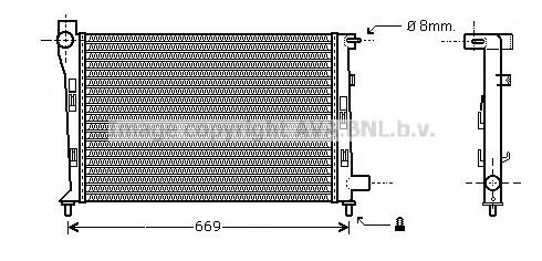 MS2281 Радиатор системы охлаждения MERCEDES-BENZ: A-CLASS (W168) A 170 CDI (168.008)/A 170 CDI (168.009, 168.109)/A 210 (168.035