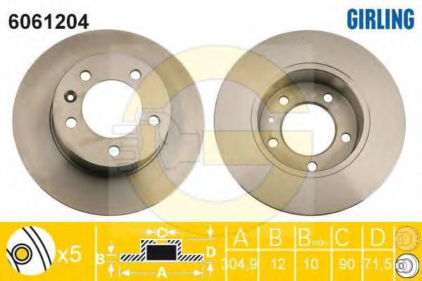 6061204 Диск тормозной RENAULT MASTER III/OPEL MOVANO 10- задний