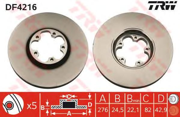 DF4216 Диск тормозной FORD TRANSIT 2.0D 00-06 передний вент.D=276мм.