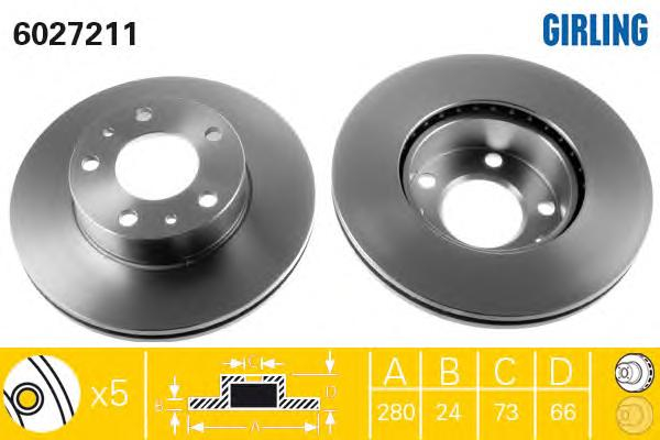 6027211 Диск тормозной CITROEN JUMPER/FIAT DUCATO/PEUGEOT BOXER 94- передний D=280мм.