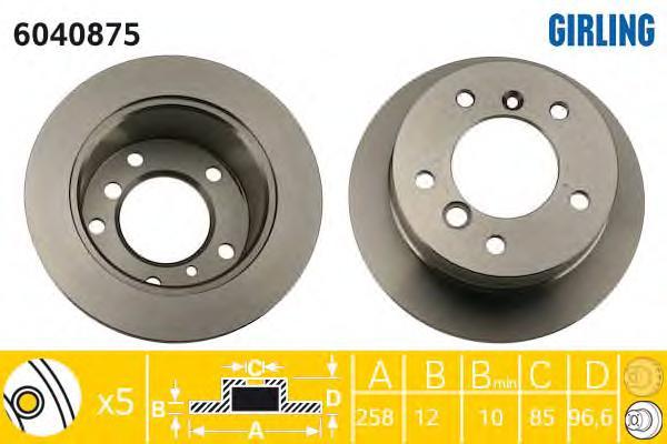 6040875 Диск тормозной MERCEDES SPRINTER (2t) 95-06/VW LT 28-35/46 96-06 задний D=258мм.