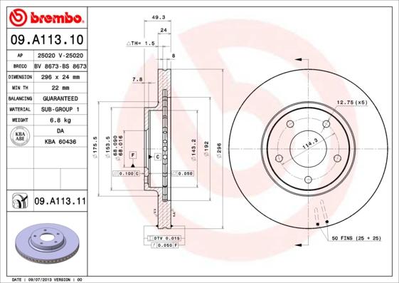 09A11310 Диск тормозной NISSAN MAXIMA QX33 00-03 передний вент.D=296мм.