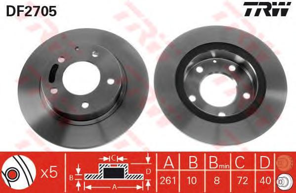 DF2705 Диск тормозной MAZDA 626 91-02/PREMACY 99- задний