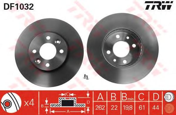 DF1032 Диск тормозной RENAULT LAGUNA 1.8-2.2 93-01/MEGANE 1.8-2.2 96-01 передний вент.