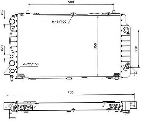 50528 Радиатор VAG A80 2.0/1.9TD АКПП 92-98