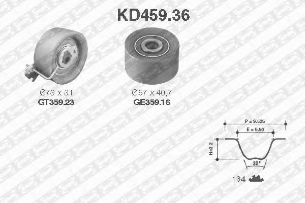 KD45936 Комплект ремня ГРМ PEUGEOT 206/307/CITROEN C3 1.6 00-