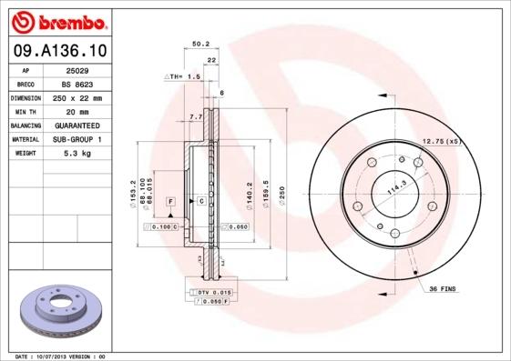 09a13610 Тормозной диск