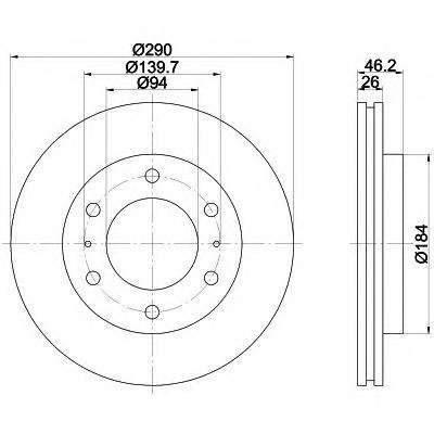 8DD355118631 Диск тормозной MITSUBISHI PAJERO 00- (R16) передний