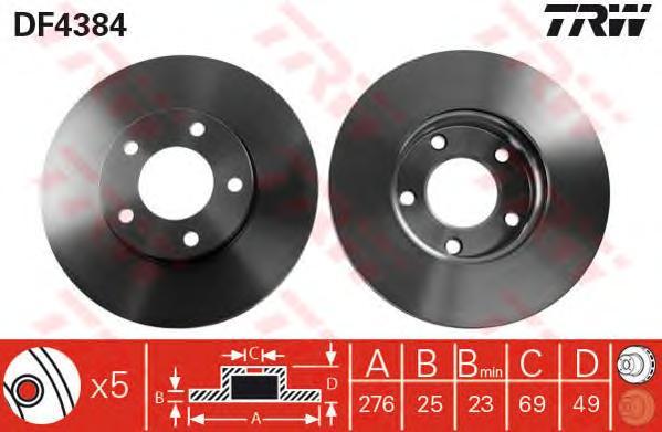 "DF4384 Диск тормозной MAZDA 3 1.4/1.6 03/MAZDA 5 15"" 1.8/2.0/2.0D 03 передний вент."