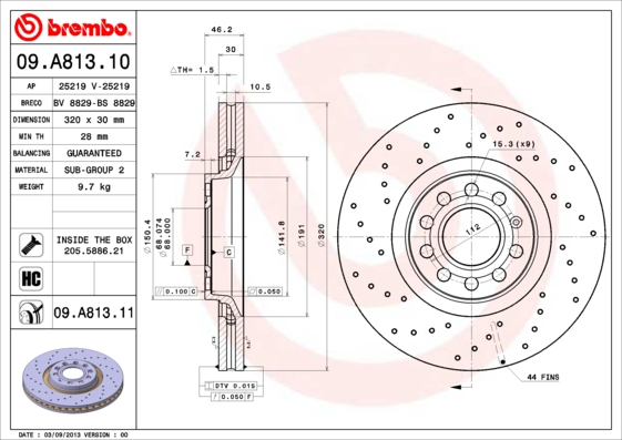 09A81311 Диск тормозной передн, AUDI: A4 2.0/2.0 TDI/2.0 TDI quattro/2.0 TFSI/2.0 TFSI quattro/2.5 TDI/2.7 TDI/3.0/3.0 TDI quatt