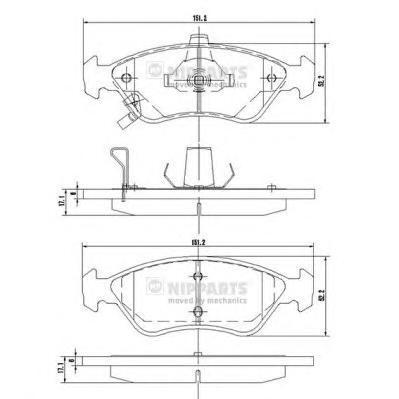 J3600303 Колодки тормозные KIA CLARUS 1.8/2.0 96- передние