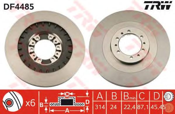 DF4485 Диск тормозной MITSUBISHI PAJERO 2.5-3.0 90-00/PAJERO SPORT 2.5-3.0 98- передний