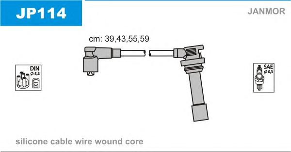 JP114 Комплект проводов зажигания MAZDA: 323 C V 94-98, 323 F V 94-98, 323 S V 94-98, FAMILIA V 94-98