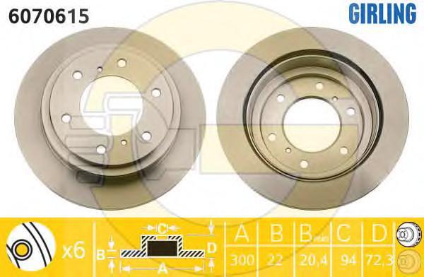 6070615 Диск тормозной MITSUBISHI PAJERO 00-/PAJERO SPORT 98- задний вент.D=300мм.