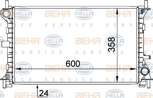 8MK376720301 Радиатор системы охлаждения FORD: FOCUS (DAW, DBW) 1.8 DI / TDDi/1.8 TDCi/1.8 Turbo DI / TDDi/RS/ST170 98-04, FOCUS