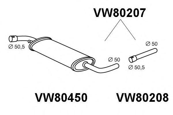 vw80207 ПРЕДГЛ.ВЫХЛ.ГАЗОВTRANSPORTERIVLWB1.9D/2.0/2.4D/2.5FG/BU/PKT09/90-12/95