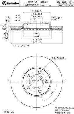 09A90510 Диск тормозной FORD FOCUS II/III/C-MAX 03-/VOLVO S40 04- передний вент.D=278мм.