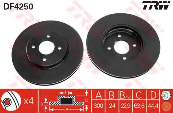 DF4250 Диск тормозной FORD FOCUS ST170 02-04 передний вент.D=300мм.