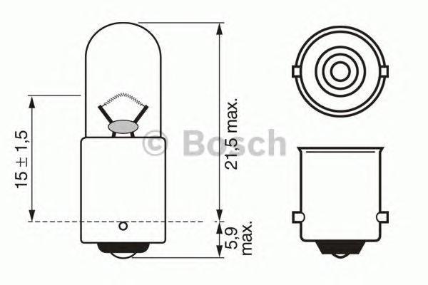 1987302512 Комплект ламп накаливания для грузовых автомобилей 10шт в упаковке T4W 24V 4W BA9s Trucklight (стандартные характерис