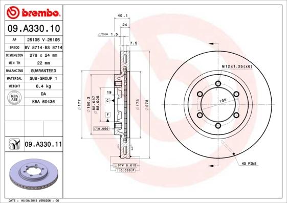 09A33010 Диск тормозной SSANGYONG KORANDO 96-/MUSSO 96-/REXTON 2.9D 02- передний