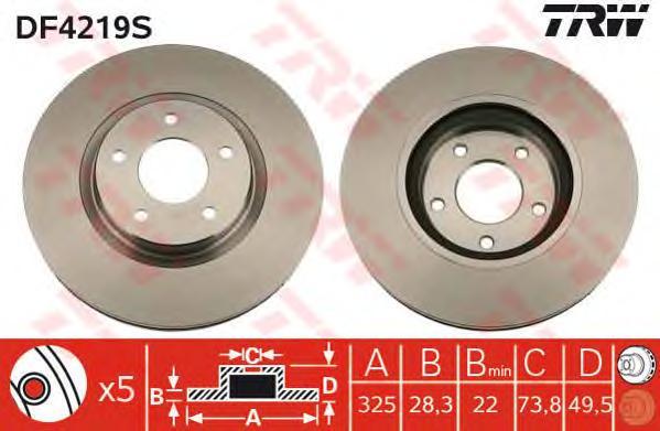 DF4219S Диск тормозной JAGUAR S-TYPE 99-/FX 08-/XJ 97-/XK 96- передний вент.