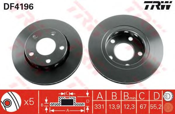 DF4196 Диск тормозной MERCEDES ML W163 270-500 98-05 задний