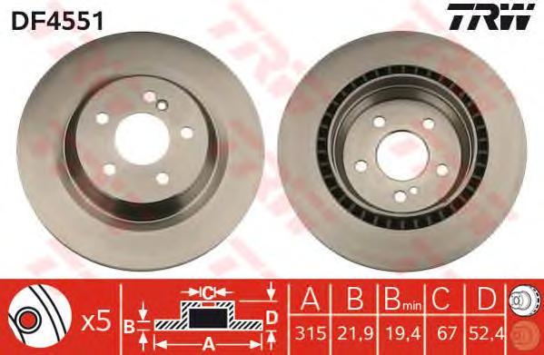 DF4551 Диск тормозной MERCEDES W220/215 5.0-6.0 98-06 задний D=315мм