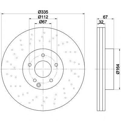8DD355115011 Диск тормозной MERCEDES W221 05- передний D=335мм.