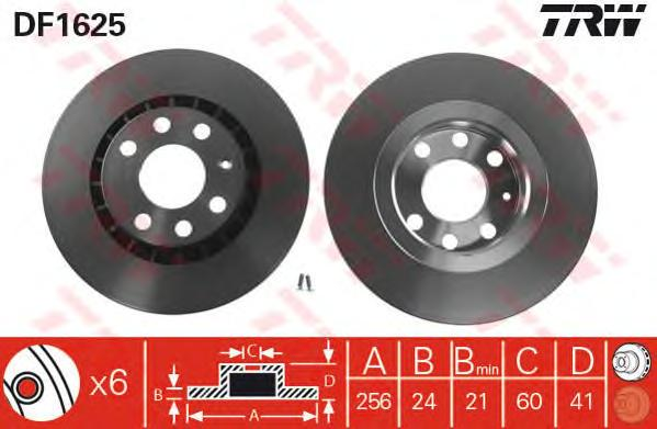 "DF1625 Диск тормозной CHEVROLET LANOS/DAEWOO NEXIA 14""/OPEL ASTRA F/VECTRA A/B пер.вент"