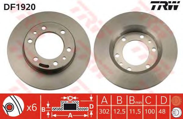 DF1920 Диск тормозной TOYOTA LAND CRUISER (J70) 2.4 84-96 передний не вент.