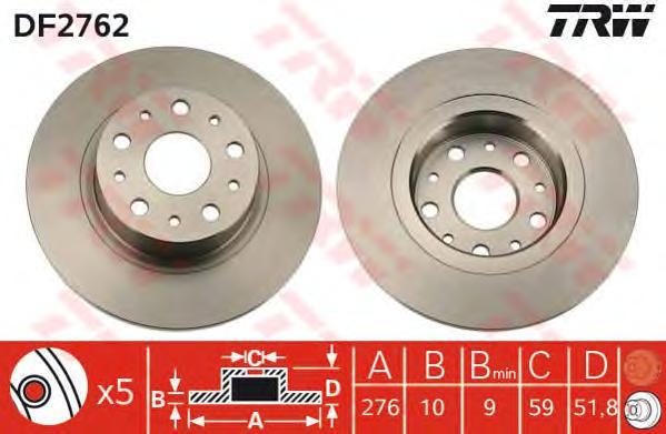 DF2762 Диск тормозной ALFA ROMEO 166 98- задний D=276мм.