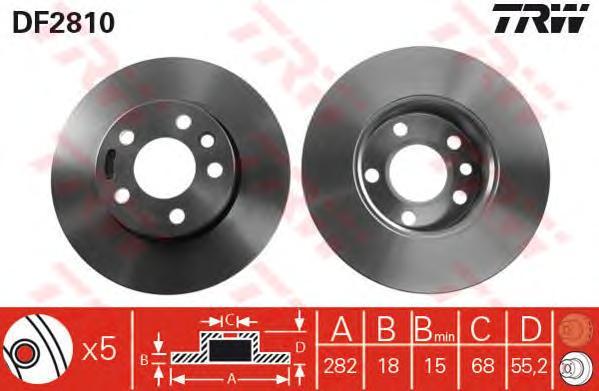 DF2810 Диск тормозной VW TRANSPORTER IV 1.9-2.8 90-03 передний D=282мм.