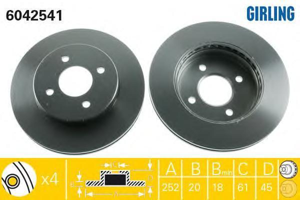 6042541 Диск тормозной NISSAN ALMERA (N15) 95-00 передний вент.D=252мм.