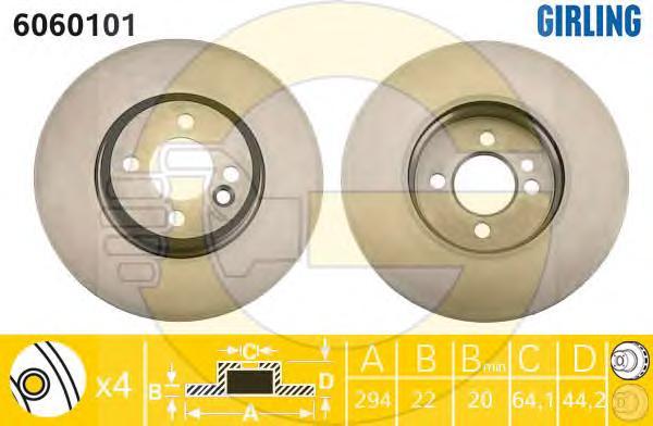 6060101 Диск тормозной MINI COOPER/ONE 01- передний вент.D=294мм.
