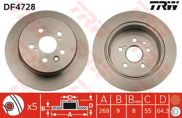 DF4728 Диск тормозной TOYOTA CARINA E 2.0 92-97/CELICA 1.8 93-99 задний D=269мм.