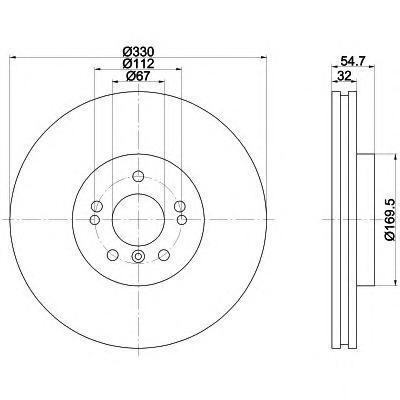 8DD355113171 Диск тормозной MERCEDES ML W164/R W251 280-350 05- передний вент. D=330мм.