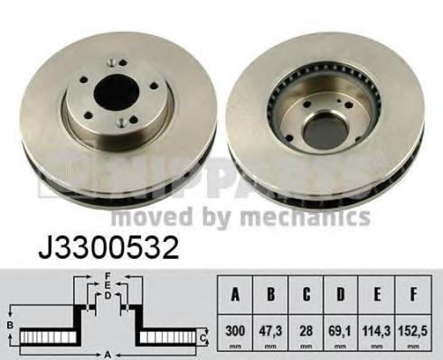 """J3300532 Диск тормозной HYUNDAI i30 07- R16"""" передний вент.D=300мм."""
