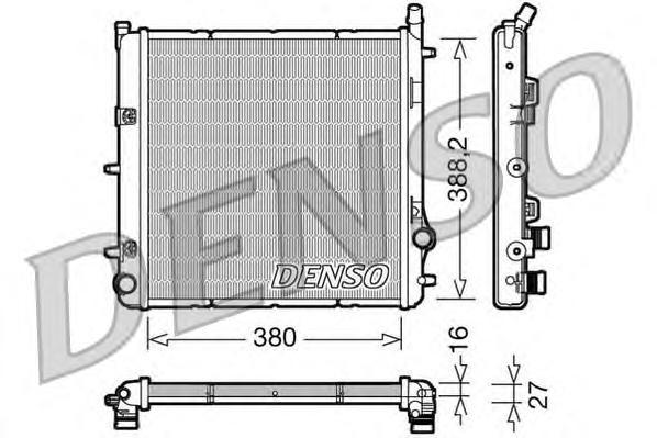 DRM21005 Радиатор системы охлаждения CITROEN: C2 (JM) 1.1/1.4/1.6/1.6 VTS 03 - , C3 (FC) 1.1 i/1.4 i/1.4 i Bivalent/1.6 16V 02 -