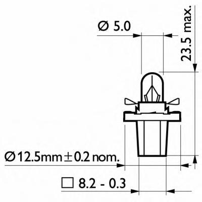 12598CP Лампа BAX 12V 1.2W BAX8.5d/2 black