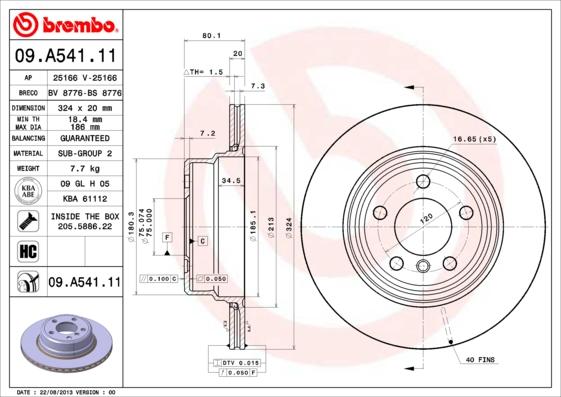 09A54111 Диск тормозной BMW X5 E53 00- задний вент.D=324мм.
