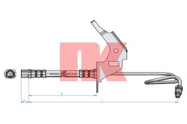 853665 Шланг тормозной задний левый / OPEL Astra-H (барабанный тормоз)  04 ~