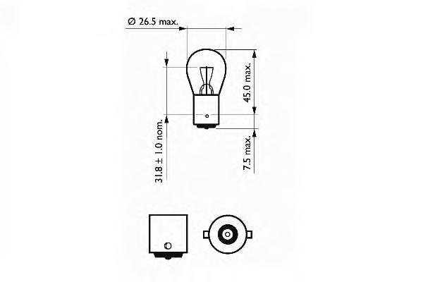 202075 Лампочка P21W (21) BA15s