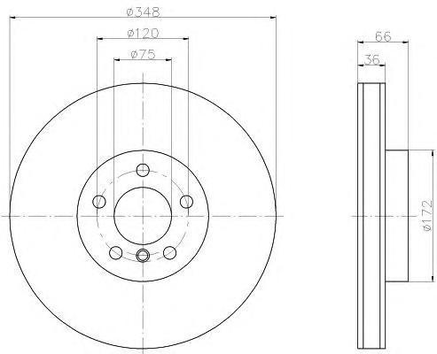 8DD355119261 Диск тормозной BMW 5 F10/11/7 F01-04 передний левый вент. D=348мм.