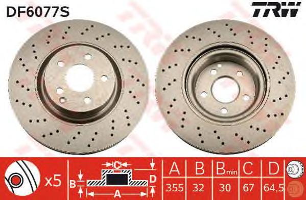 DF6077S Диск тормозной MERCEDES W221 05- передний D=335мм.