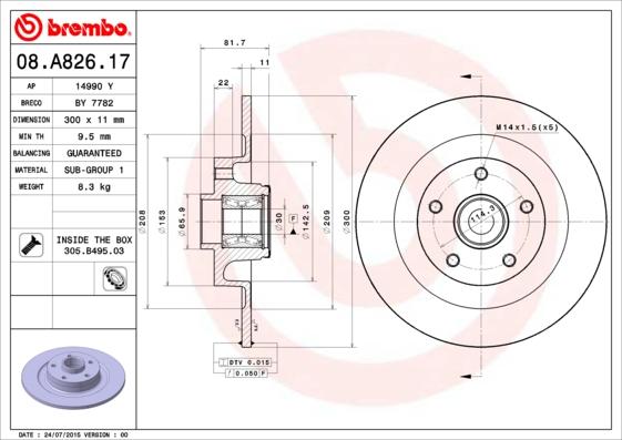 08A82617 Диск тормозной RENAULT LAGUNA III 07- задний СБ с подшипником,с АБС