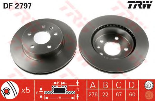 DF2797 Диск тормозной MERCEDES VITO W638 108-114 2.0-2.3 передний D=276мм.