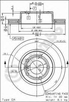 09683910 Диск тормозной передн LAND ROVER: RANGE ROVER II 94-02