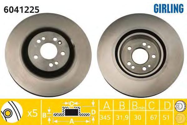 6042225 Диск тормозной MERCEDES ML W163 270-500 98-05 передний D=345мм.
